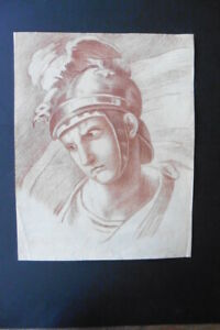 FRENCH SCHOOL 18thC - PORTRAIT CLASSICAL WARRIOR - SUPERB RED CHALK DRAWING