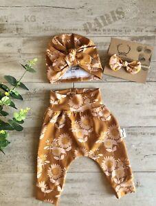 Harem Pants bib Turbans baby shower gift set in Sunflower retroTractorsandairies