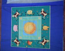 Fabric cushion panel - Rustic country farm animals and sun FOR ONE PANEL