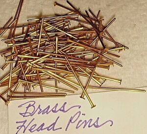 HEAD  PINS  1  INCH  BRASS   VINTAGE STRONG AND STRAIGHT   21 G    100 PCS