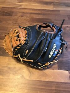 "Wilson A2000 Pudge 32.5"" Catchers Mitt Baseball Glove Black Tan. Repaired Relace"