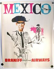 "VINTAGE BRANIFF INTERNATIONAL AIRWAYS MEXICO TRAVEL POSTER AIRLINES 20"" X 26"""