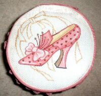 KWC  Pink Shoe Jewelry Case with Hand Painted Needlepoint Canvas Insert.