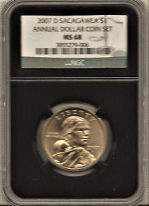 2007 D SACAGAWEA NGC MS68 FROM ANNUAL DOLLAR COIN SET ..black core