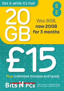 EE £15 Everything Pack Pay As You Go Sim Card - Nano, Micro & Standard, Included