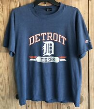 Detroit Tigers Men's Large Tshirt Vintage 80's 90's Blue MLB Champion 50/50 USA