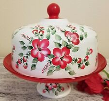 Glass Cake Stand Dome Pedestal Plate Red Flowers Hand Painted by Lia