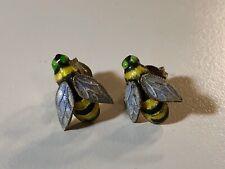 Vintage Handmade Sterling Silver Enamel Bee Stud Earrings Insect Nature Bee Kind