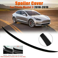 Gloss Black ABS Trunk Spoiler Cover Trim Water Retaining Wing For Tesla Model 3