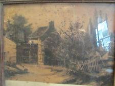 ancien dessin au fusain epoque 19 eme signé encadré paysage ferme