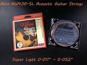"Alice AW436-SL Premium String Set for Acoustic Guitar .011""~.052"", Super Light"