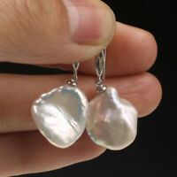 14x16 mm South Sea White Baroque Pearl Earrings Silver hook