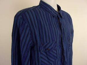 English Laundry by Christopher Wicks Button Up Shirt Size XL Striped Blue Cotton