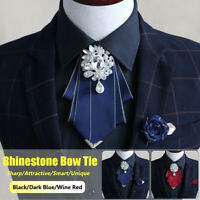 Men Handmade Rhinestone Bow Tie Bridal Wedding Party Charming Necktie + Gift