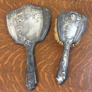 "Antique 1927 Art Nouveau ""Rhena"" Monogrammed Mirror Brush Set Silverplate Birds"