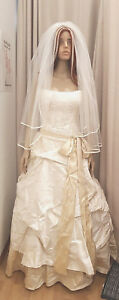 Cynthia Briggs Bridal Couture Strapless Wedding Gown in Ivory w subtle Gold