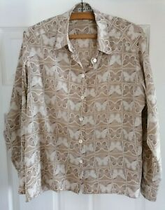 """Vintage Jaeger Blouse Coffee Cream Butterfly pattern 34"""" 86 cm bust - See Sizes"""