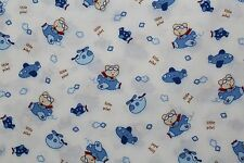 100 % Cotton fabric ~ White with blue, bears,& airplanes ~ BTY