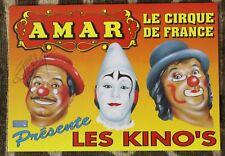CIRQUE AMAR ✤ Carte signée Arlette GRUSS & par 2 Clowns LES KINO'S ✤ 1995 TOURS