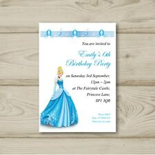 Disney Princess Cinderella Birthday Party Invitations Personalised