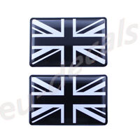 2X Black & White Union Jack flag 3D Decal domed 35X22mm