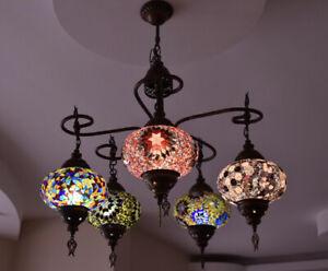 Turkish Handmade Chandelier Multi Color Five Balls Moroccan Style Mosaic Lamp