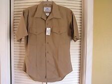 NEW Woolrich DSCP Men's Khaki Uniform Shirt Quarter Sleeve Length Size 16 NWT