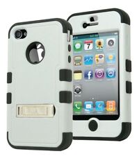 For iPhone 4 Hybrid Dual Layer Black Silicone Cover Hard Grey Case