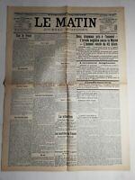 N470 La Une Du Journal Le Matin 11 septembre 1914 l'armée anglaise passe Marne