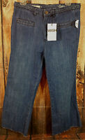 Gap Womens Size 2r Flare Cut Off Cropped Capri Jeans Medium Wash NEW