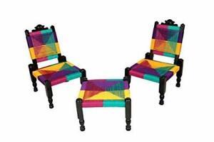 Tradicional Artesanía Multicolor Conjunto De Madera Plegable Silla Con Bajot /