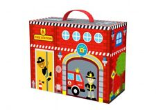 Wooden Fire Station Figures Toy Playset With Play Scene Box Packaging BRAND NEW