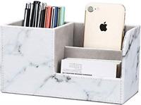 GORESE Desk Tidy Organiser Multifunction Pen Pencil Pots Holders for Desk Marble