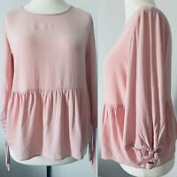 Topshop Pink Gypsy Top Ruffled Boho Linen Blend Ethnic Blouse 3/4 Sleeve Size 10