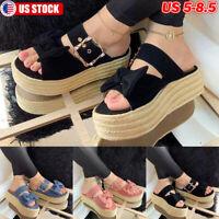 Womens Mid Wedge Espadrilles Bow Open Toe Sandals Platform Summer Beach Shoes