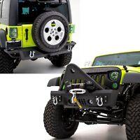 Rock Crawler Stinger Front+Rear Bumper+Winch Plate fit 07-18 Jeep JK Wrangler