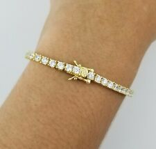 "14K Yellow Gold Round Diamond 7"" Tennis Box Clasp Bracelet"