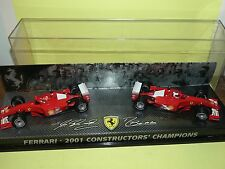 FERRARI F2001 2001 SCHUMACHER & BARICHELLO COFFRET World Champion HOTWHEELS 1:43