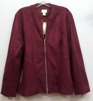 CHICOS Size 3 Purple Faux Suede Zip Up Bomber Jacket