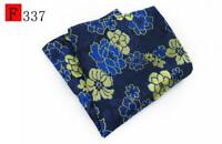 Blue Brown Orange Purple Yellow Flower Patterned Pocket Square Handkerchief