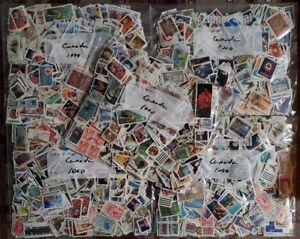 Canada Kiloware 5000 used stamps off paper large and small 5 pockets x 1000