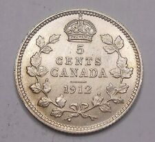 1912 Five Cents Silver CHOICE AU ** BEAUTIFUL Lustrous EARLY George V Canada 5¢