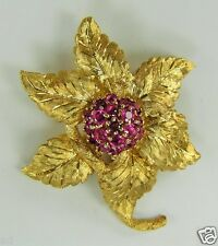 """Vintage Signed RJ 14k Yellow Gold 3-D Flower Pin with 1.4ctw Red Spinels 1 7/8""""h"""