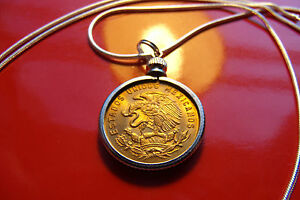 """Mexico Brass Golden Eagle Mint Coin Pendant on a 30"""" 925 Silver Snake Chain"""
