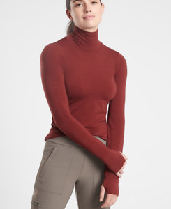 ATHLETA Foresthill Ascent Merino Wool Turtleneck Top S SMALL Dried Cinnamon NWT