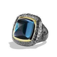 David Yurman London Blue Topaz Albion Ring Sterling Silver & Yellow Gold 7.5