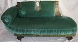 Green Chaise Lounge Fainting Couch Sofa Doll Furniture Green Big Antique (O2)