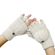 Winter Knited Half finger Fingerless Convertible Unisex Gloves Mitt Flip Mittens