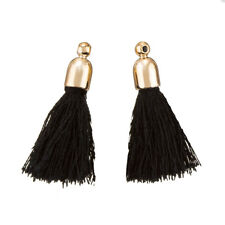 Cotton Tassel Charms & Gold Plated Cap (Black) 32mm Pack of 2 (K70/4)
