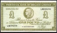 1965 PROVINCIAL BANK OF IRELAND LIMITED £1 BANKNOTE * LN 084206 * aVF *
